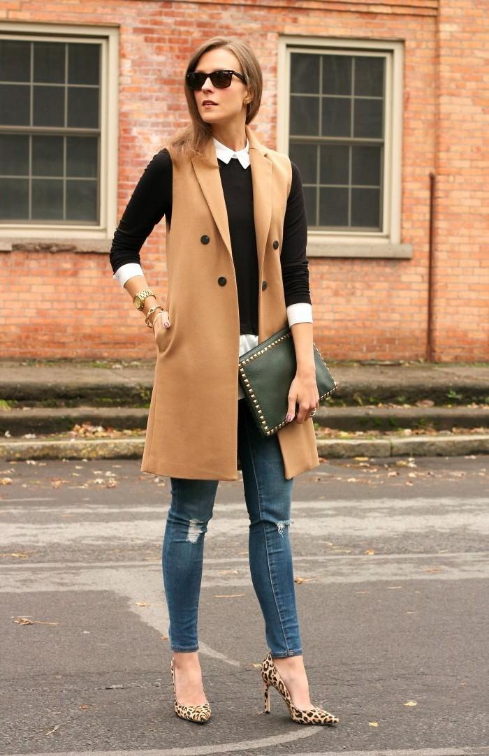 belle-fille-formidable-gilet-long-sans-manche-femme-à-la-mode-manteau-beige
