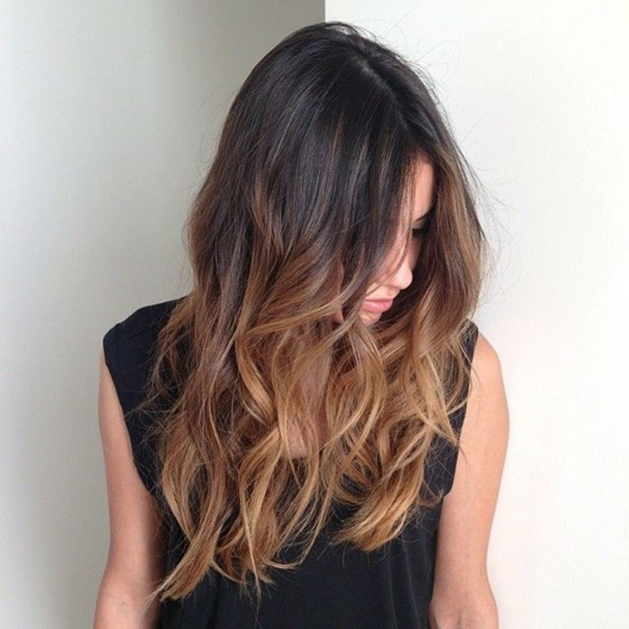 Dark honey brown hair color