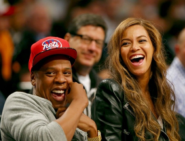 NEW YORK, NY - MAY 02: Beyonce and Jay-Z attend Game Six of the Eastern Conference Quarterfinals during the 2014 NBA Playoffs at the Barclays Center on May 2, 2014 in the Brooklyn borough of New York City. NOTE TO USER: The Brooklyn Nets defeated the Toronto Raptors 97-83. User expressly acknowledges and agrees that, by downloading and/or using this photograph, user is consenting to the terms and conditions of the Getty Images License Agreement. (Photo by Elsa/Getty Images)