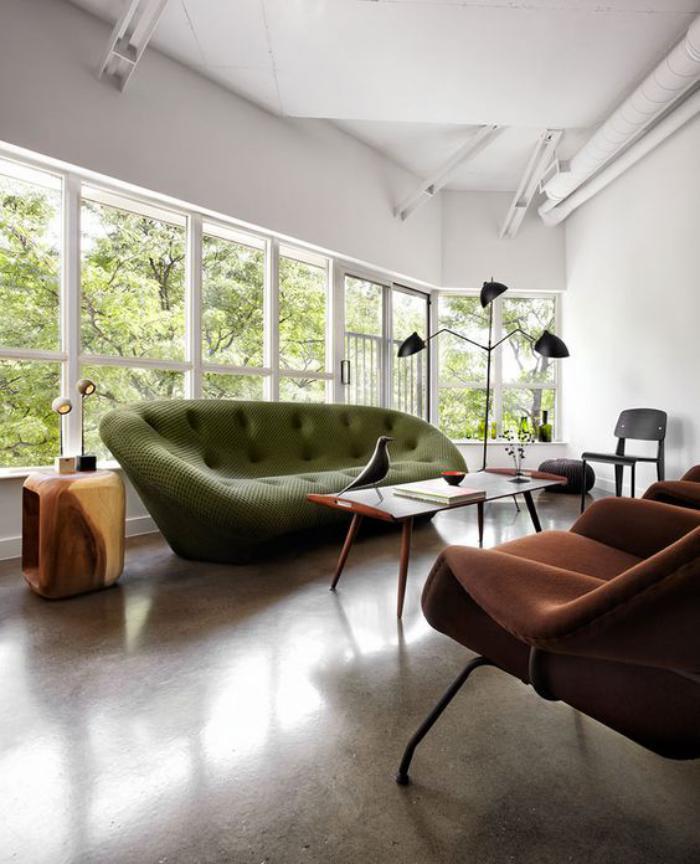 canapé-vert-équipement-de-salon-contemporain-meubles-uniques