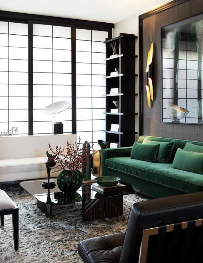 canapé-vert-décoration-des-espaces-monochromes