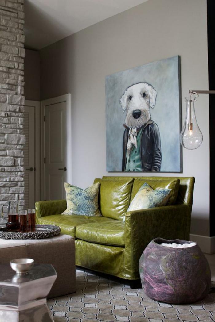canapé-vert-en-cuir-tableau-original-art-extravagant