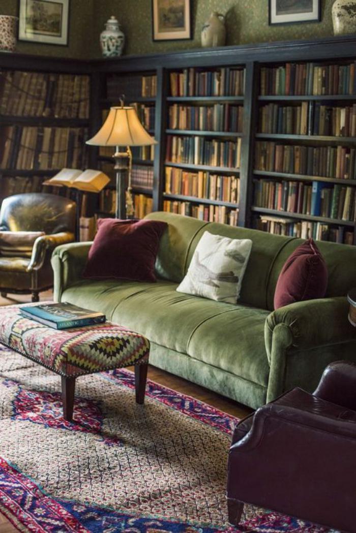 canapé-vert-intérieur-syle-traditionnel-grande-bibliothèque