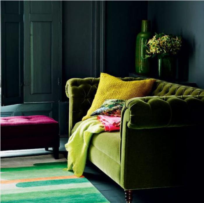 canapé-vert-peinture-verte-pour-l'intérieur