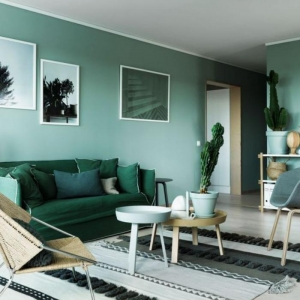 Mettez un canapé vert et personnalisez l'intérieur