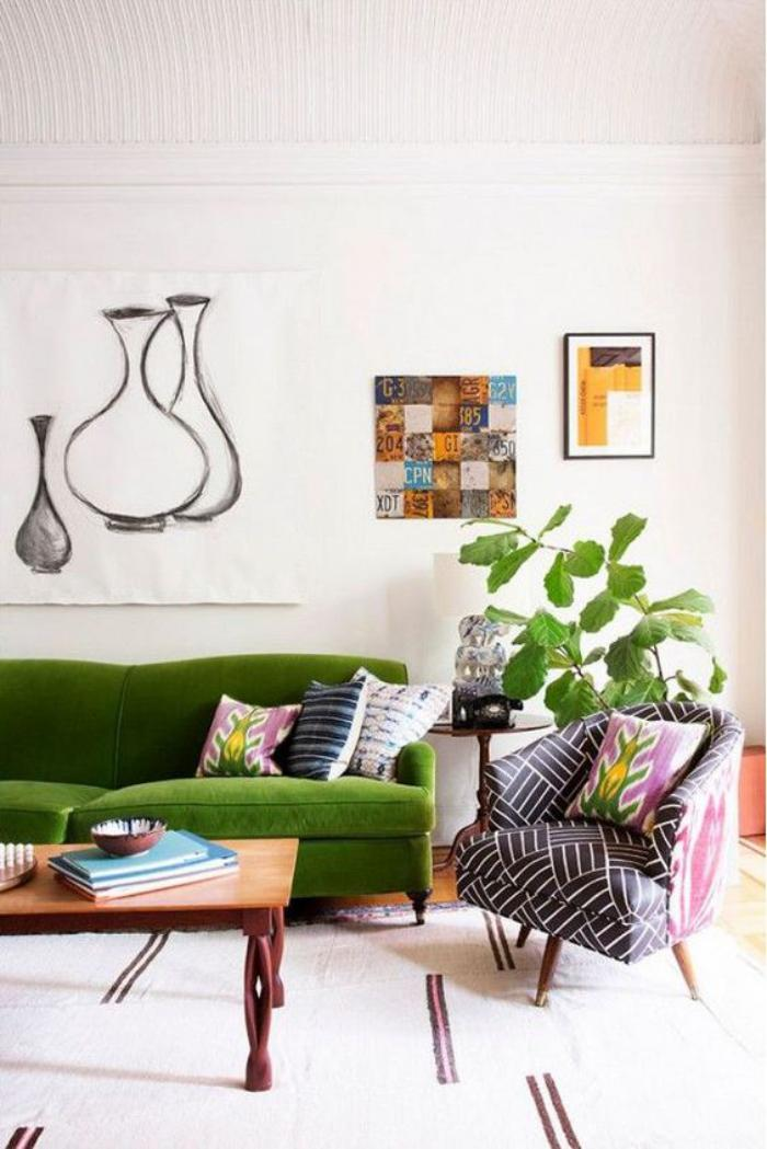 canapé-vert-salon-blanc-style-vintage