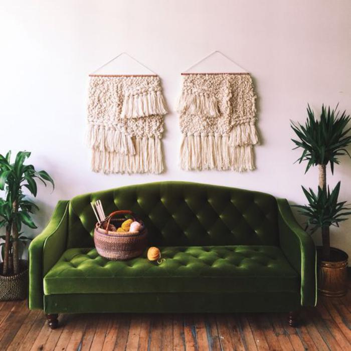 canapé-vert-vintage-rétro-chic-pour-l'intérieur