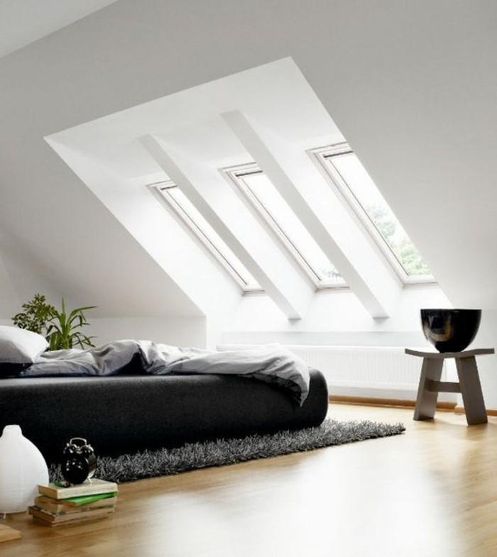 chambre-à-coucher-chambre-mansardée-chambres-dans-les-combles-tapis-noir-lit-double