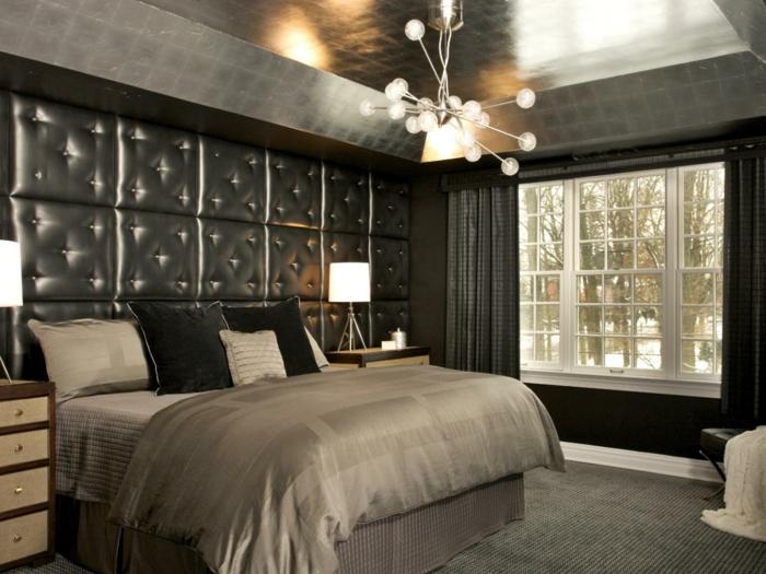 chambre-a-coucher-avec-revetements-muraux-en-cuir-gris-comment-decorer-les-murs