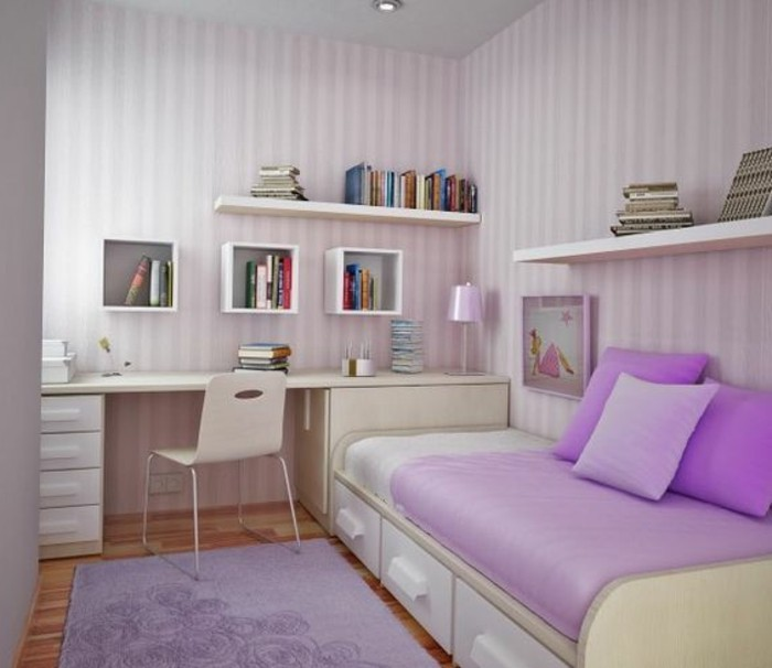 chambre-enfant-fille-lit-tiroir-lit-enfant-lit-armoire-pas-cher-tapis-violet-papier-peint-design