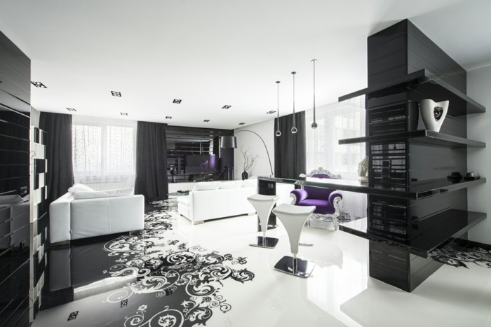 deco chambre noire et blanche. Black Bedroom Furniture Sets. Home Design Ideas
