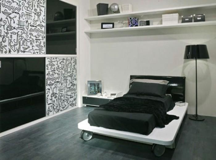 dco chambre noir et blanc chambre noir et blanc design lit dafne laque cm p - Deco Noir Et Blanc Chambre Ado