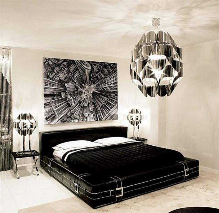 chambre-noire-et-blanche-décoration-chambre-adulte-meuble-noir