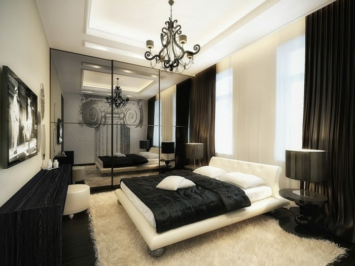 chambre-noire-et-blanche-décoration-chambre-adulte-rideaux-chambre-adulte