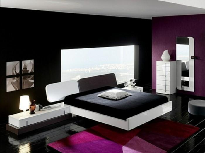 chambre-rouge-et-blanc-chambre-noire-et-blanche-décoration-chambre-adulte-