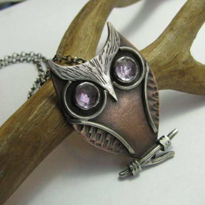 collier-hibou-argent-bronze-et-pierres
