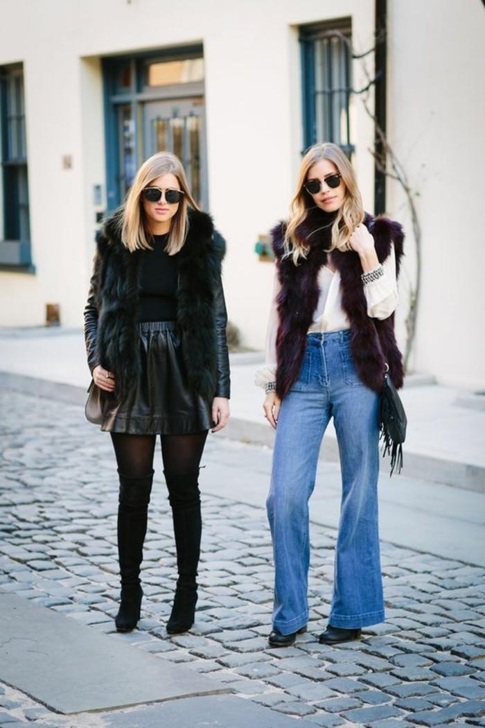 comment-porter-la-gilet-sans-manche-fourrure-en-noir-et-en-violette-foncé-denim-