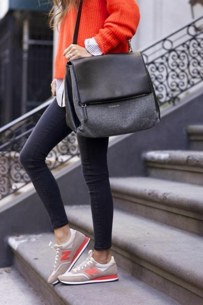 comment-porter-les-sarenza-sneakers-femme-tendance-de-la-mode-sac-a-main-noir