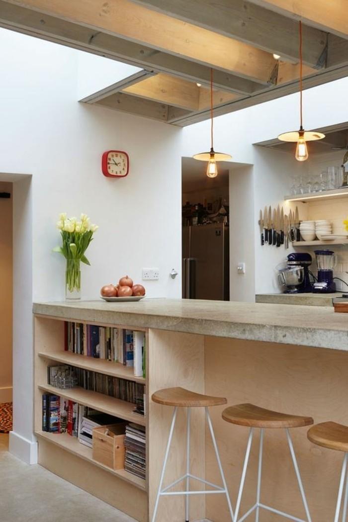 cuisine-contemporaie-bien-ranger-bar-de-cuisine-chaise-de-bar-cuisine