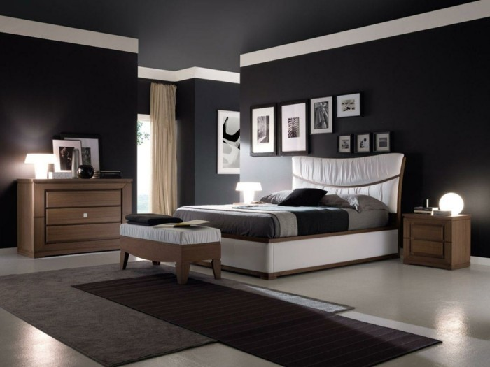 Chambre noire et blanche signification des couleurs et combinaisons en 80 photos splendides - Camera da letto arredamento moderno ...