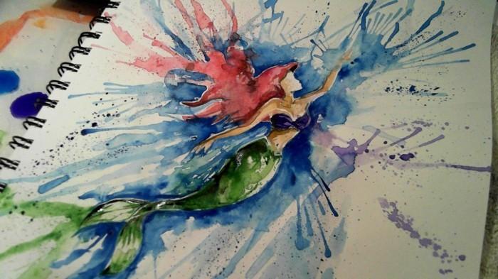 dessin-animé--arielle-la-petite-sirène-peinture-voir