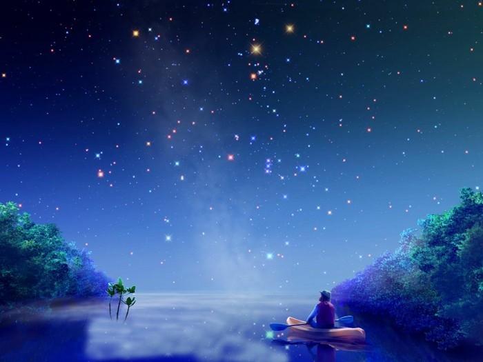 dessin-peinture-ciel-etoilé-voir-le-ciel-avec-étoile-brillante-image