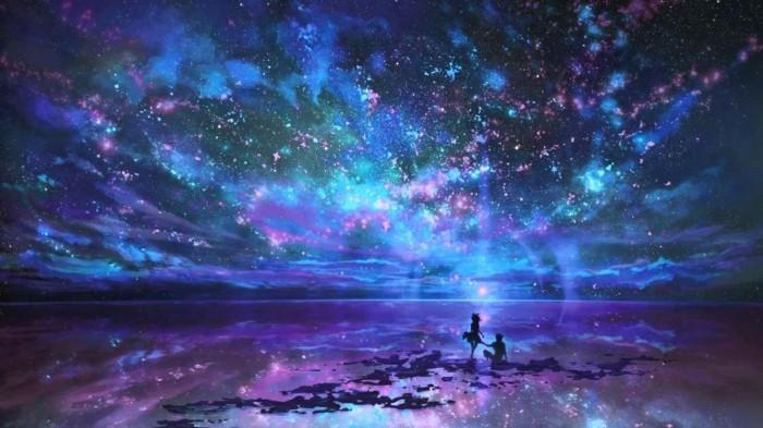 dessin-violet-ciel-etoilé-voir-le-ciel-avec-étoile-brillante-image
