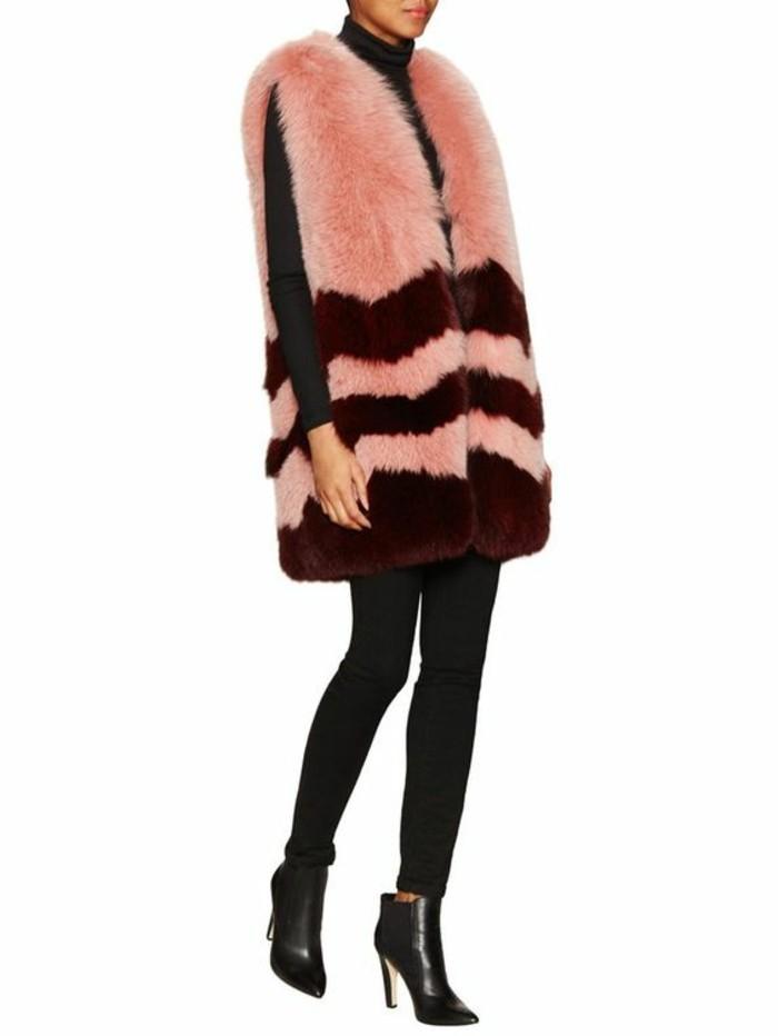 elegant-modele-de-gilet-long-sans-manche-femme-rose-fourrue
