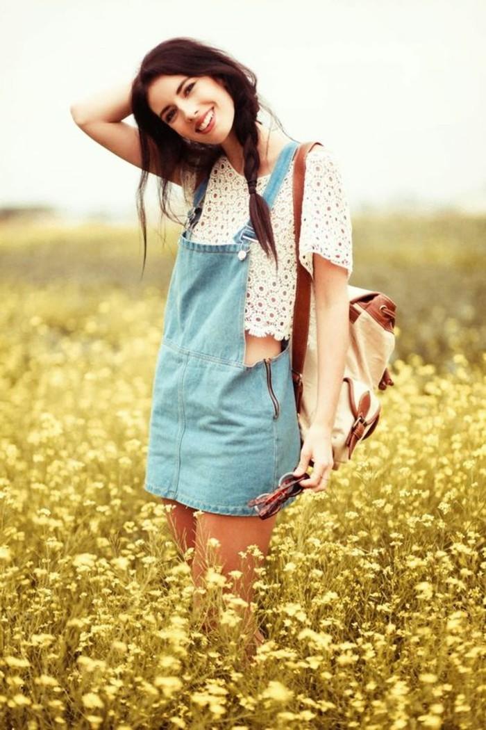 excellente-salopette-jean-jupe-vetement-stylé-pour-l-été-fille-mignonne