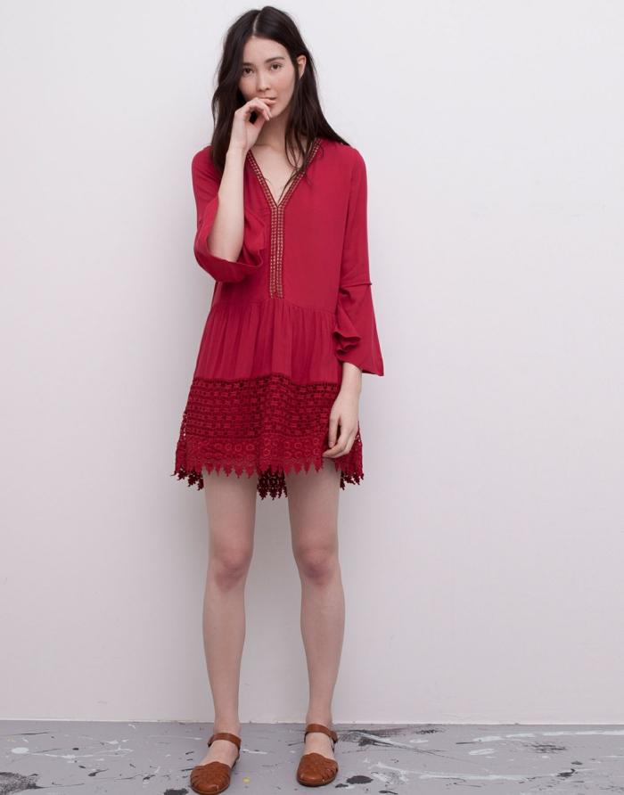 fantastique-tenue-de-plage-femme-bohème-chic-style-rouge