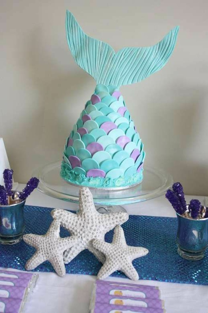 gâteau-Ariel-la-petite-sirène-idée-la-petite-sirène-disney-anniversaire-gâteau