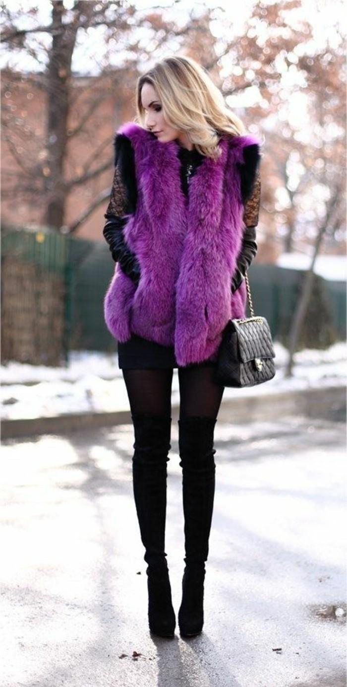 gilet-long-sans-manche-femme-denim-noir-slim-cheveux-bonds-tendances-de-la-mode