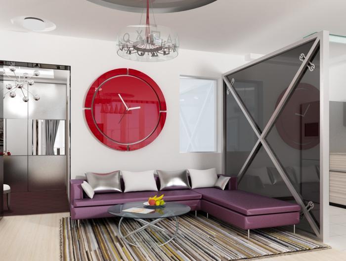grande-horloge-murale-équipement-minimaliste-horloge-murale-rouge