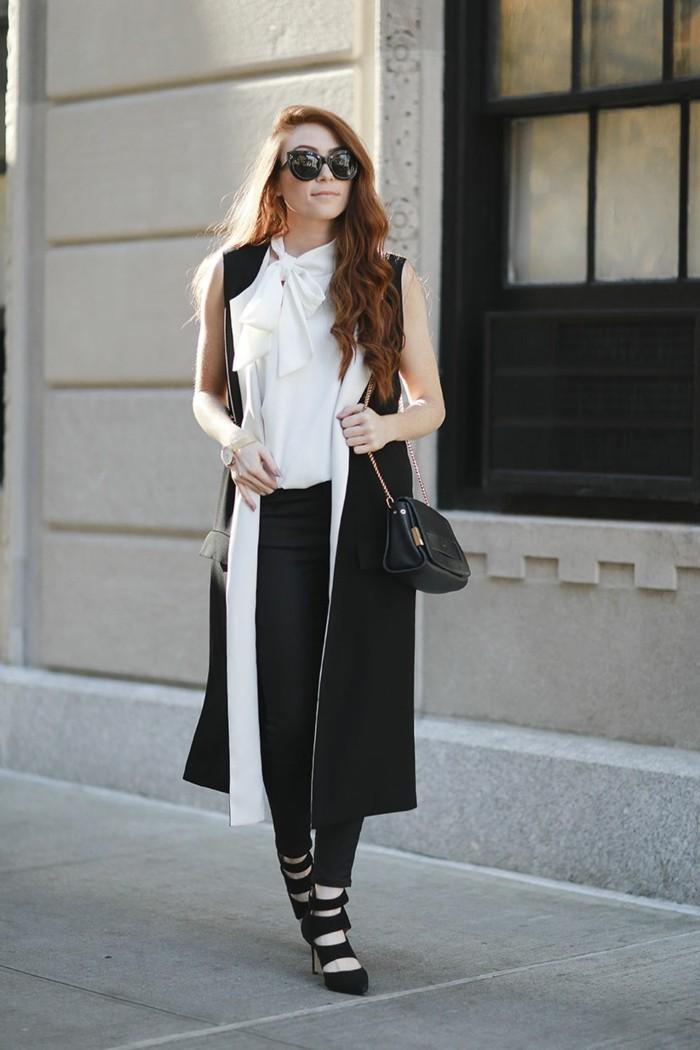 idée-comment-porter-le-gilet-long-sans-manche-femme-blanc-et-noire
