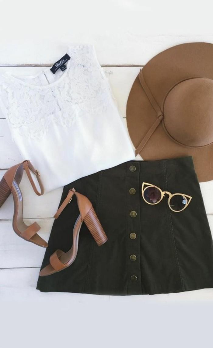 jupe-en-dame-couleur-noire-les-dernieres-tendances-da-la-mode-chapeau-marron