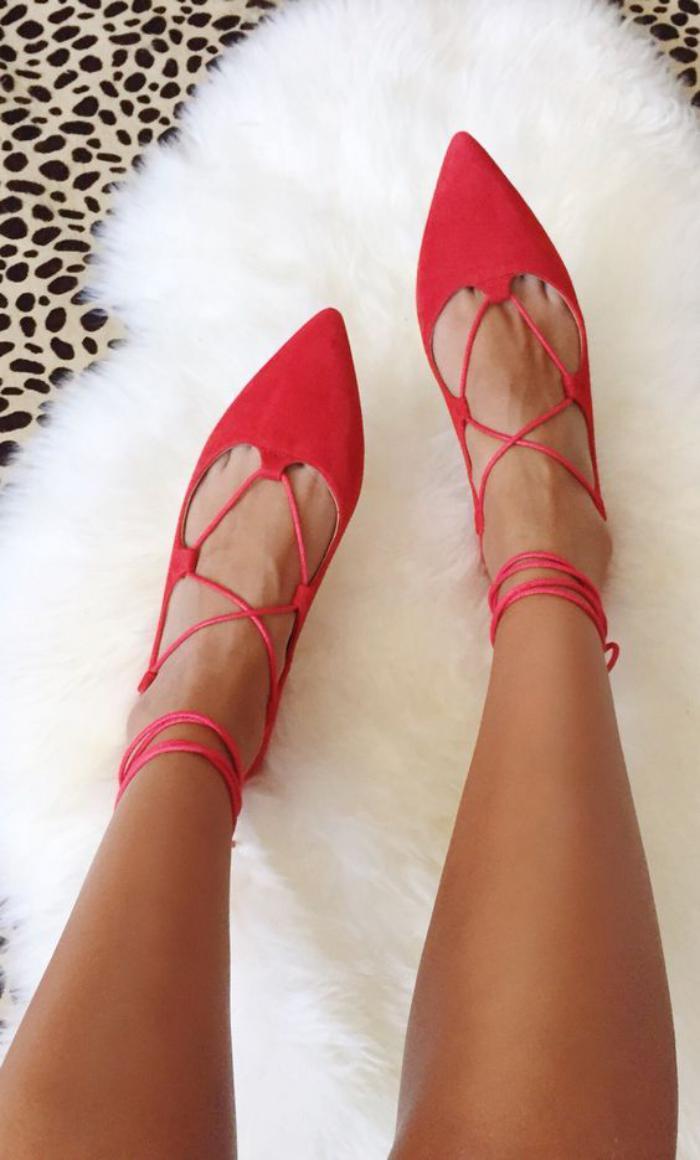 la-ballerine-ballerines-rouges-à-lacets