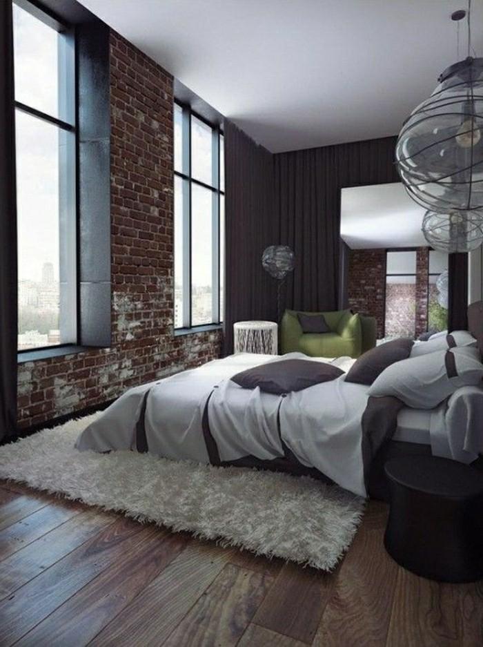la-plus-belle-chambre-a-coucher-plaquette-de-parement-brique-rouge-tapis-blanc-lit-double-resized