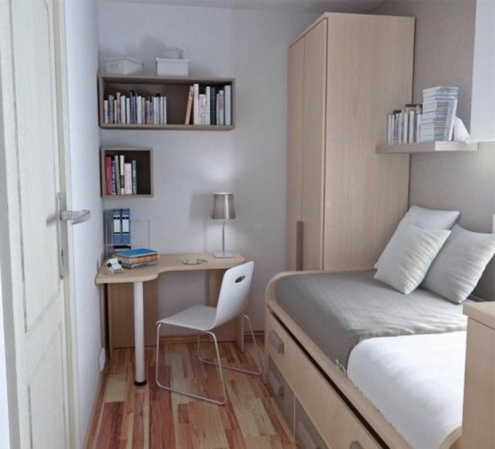 Lit Double Bois Clair : lit-avec-tiroirs-sol-en-parquet-clair-chaise-beige-armoir-en-bois