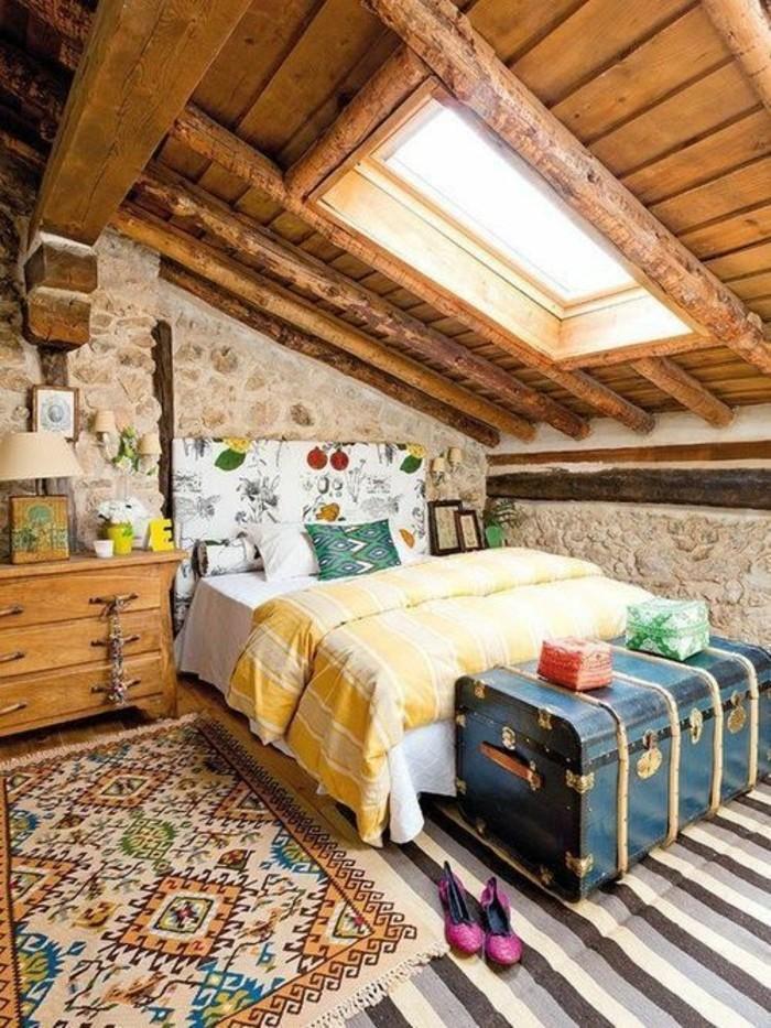 maison-rustique-et-murs-en-pierres-chambre-mansardée-chambres-dans-les-combles