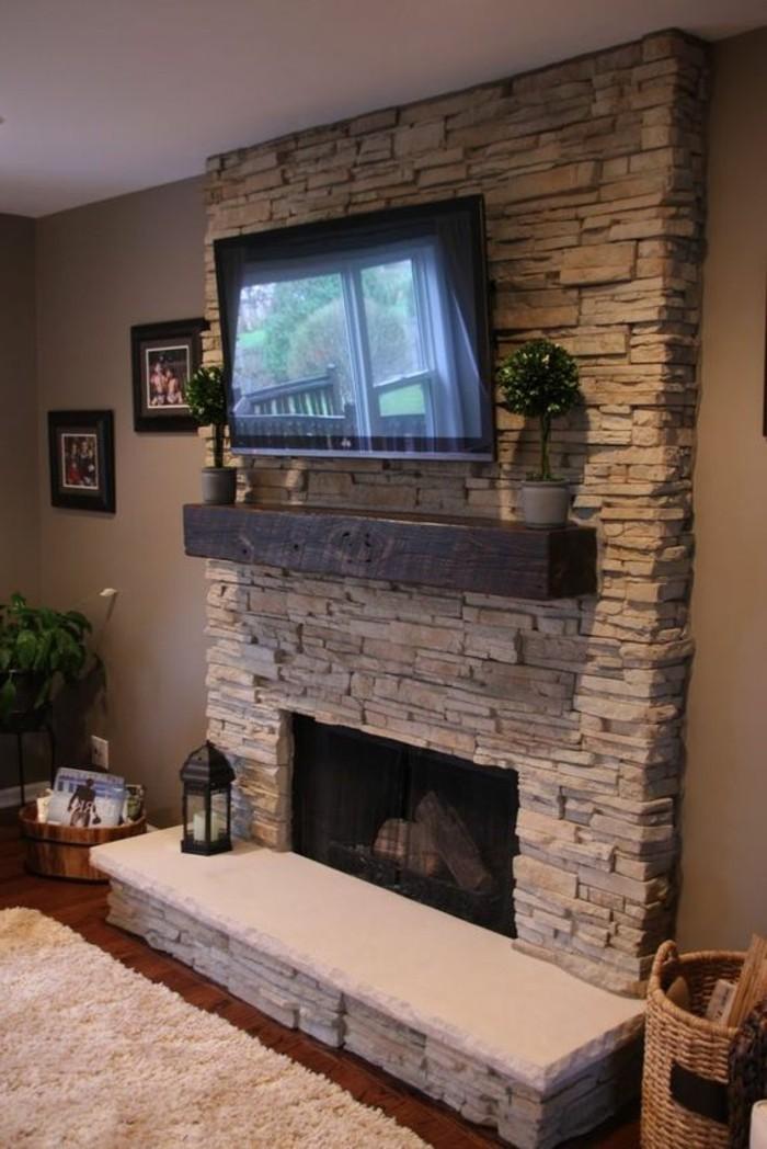 pierres-de-parement-interieur-salon-avec-tapis-blanc-cheminée-d-intérieur
