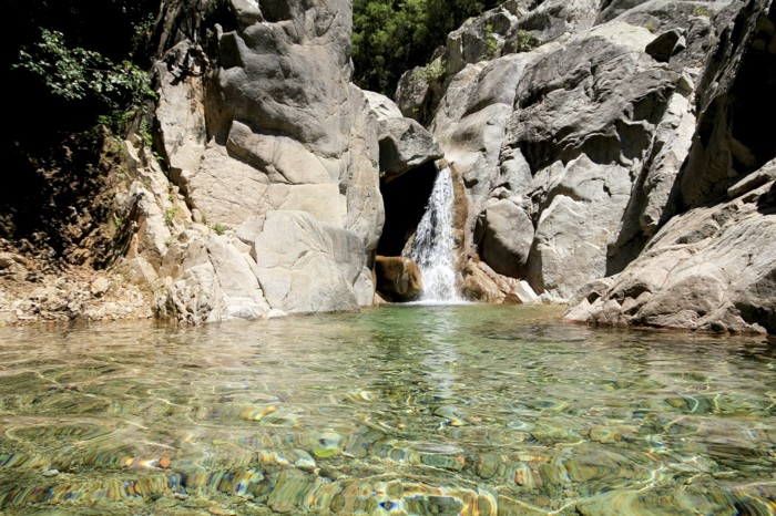 Solenzara, waterfall with a small lake