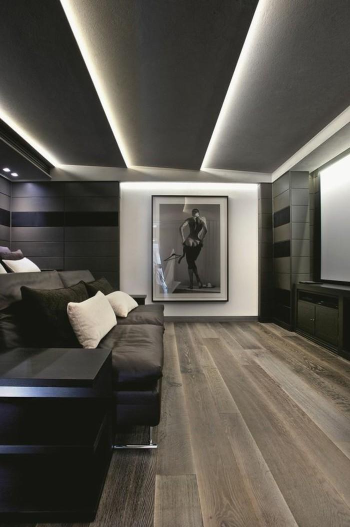 plafond-decoré-avec-panneau-décoratif-gris-comment-decorer-le-plafond-dans-le-salon