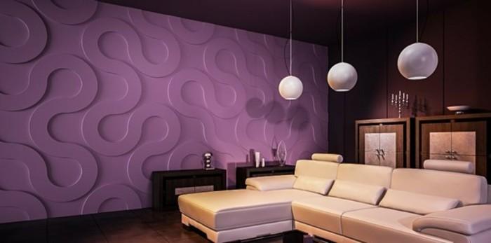 salon-avec-murs-en-panneau-decoratif-couleur-violette-comment-decorer-les-murs-dans-le-salon
