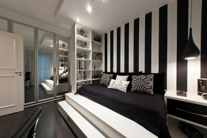 chambre a coucher noir et blanc photos de conception de. Black Bedroom Furniture Sets. Home Design Ideas