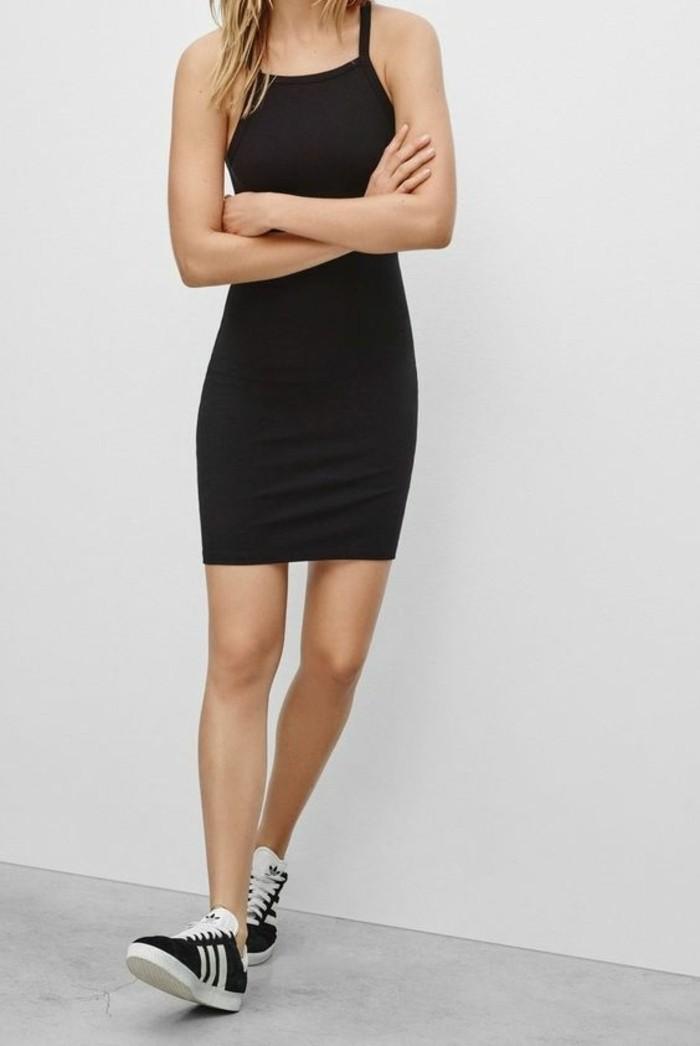 sneakers-adiddas-blanc-noir-tendances-de-la-mode-chez-les-femmes-robe-noire-femme