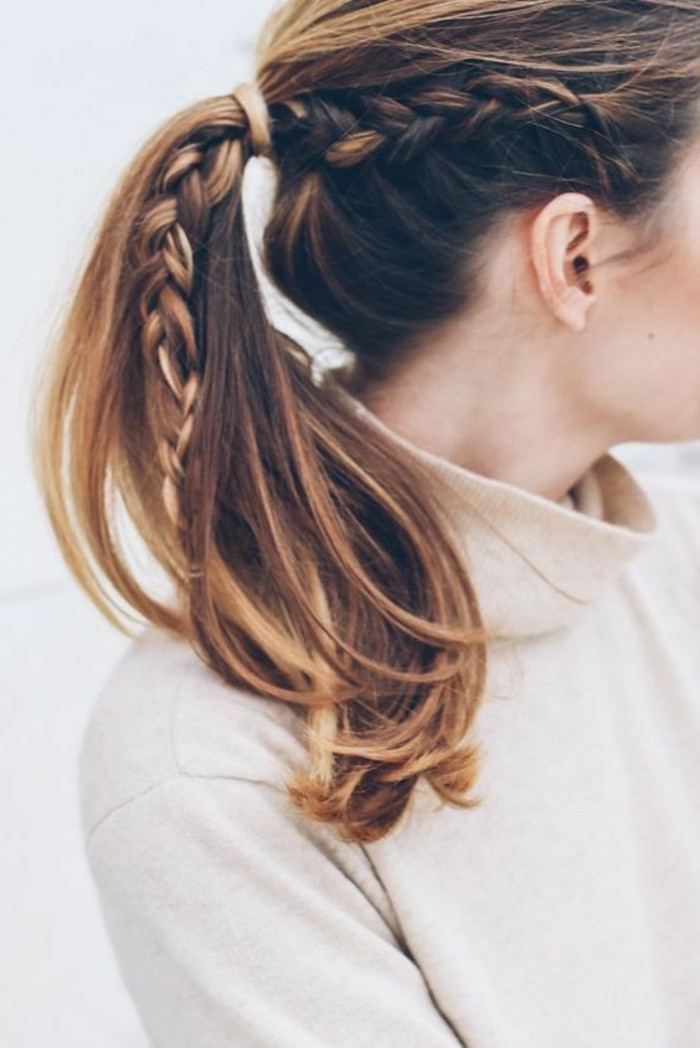 tresse-coiffure-cheveux-attachés-coiffure-simple-et-rapide-idees-en-photos
