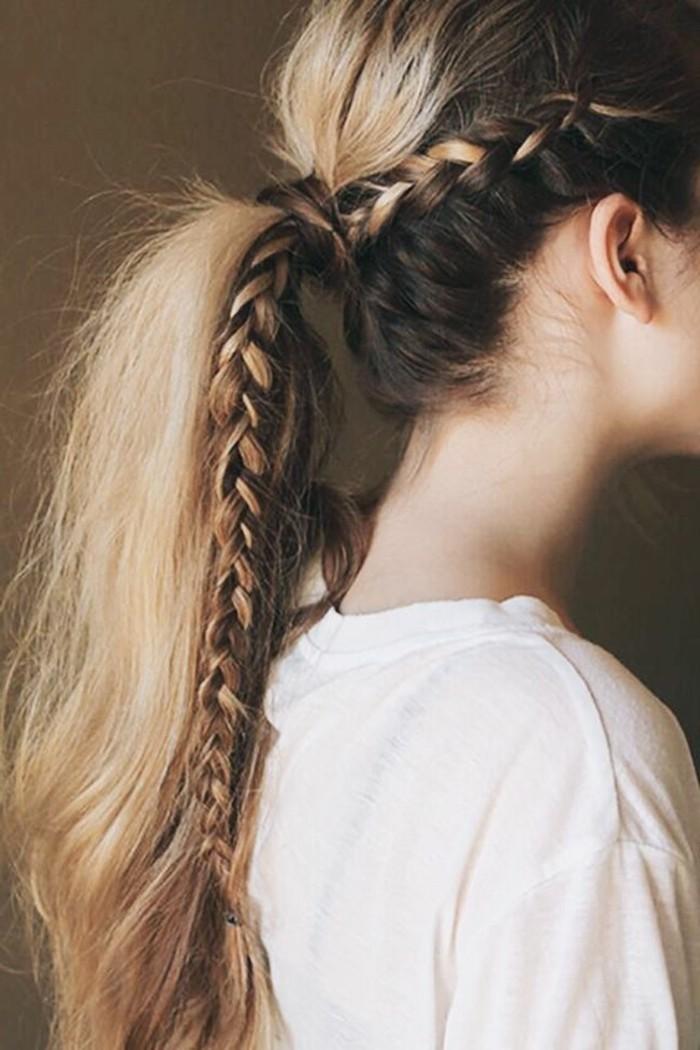 tresse-coiffure-originale-coiffure-d-été-cheveux-blayage-t-shirt-blanc-femme