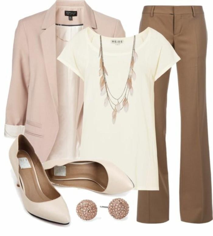 veste-elegant-en-rose-pale-t-shirt-collection-printemps-été-2016-pantalon-beige-talons-hauts
