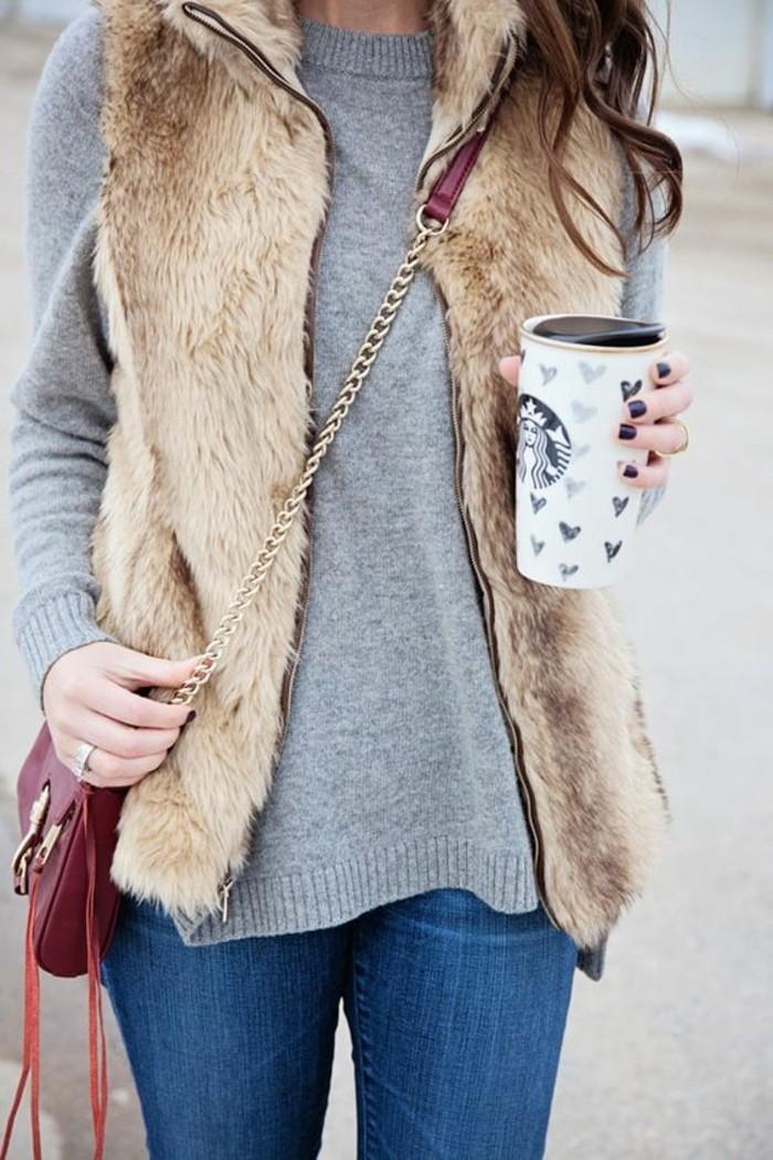 veste-fourrure-beige-blouse-grise-comment-porter-avec-style-mode-femme-2016