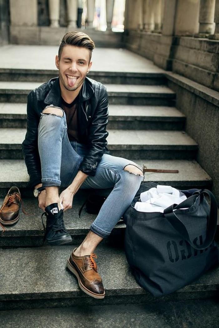 0-blouson-homme-pas-cher-en-cuir-noir-denim-déchiré-pas-cher-homme-chaussures-elegantes